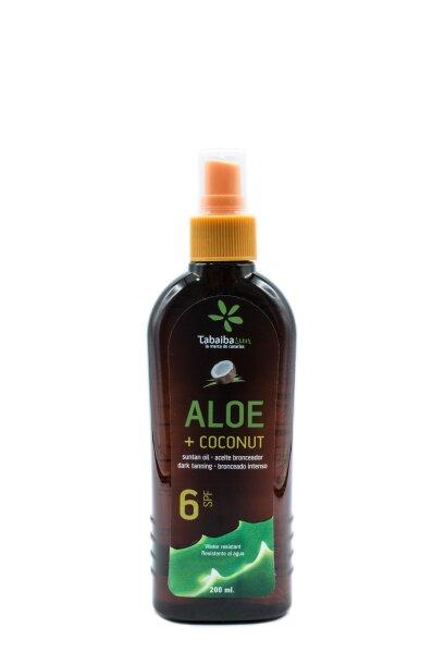 TabaibaSun  - Aloe Vera - Kokosnuss-Bräunungsöl 6 SPF 200 ml